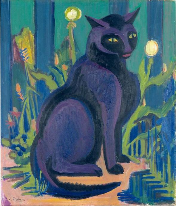 Ernst Ludwig Kirchner, Bobby, Boby, cats in art, Black cat