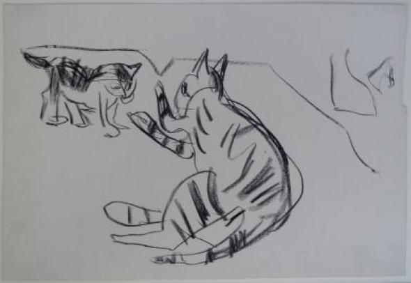Kirchner Spielende Katzenmutter und Junes Mother Playing with her Kitten