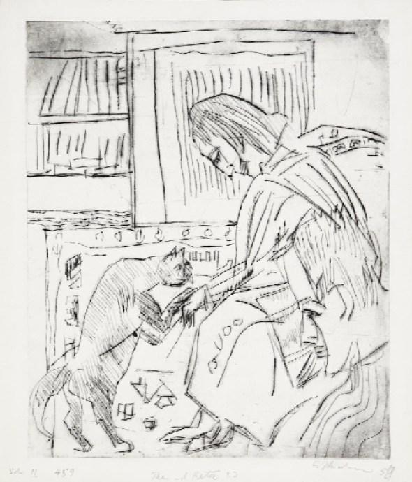 Kirchner Frau and Katze, cats in art