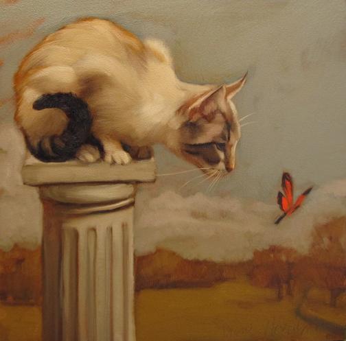 Eye on Butterfly Diane Hoeptner, cats in art