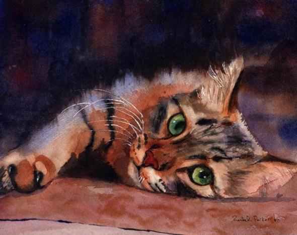 Floored II, Rachel Parker, cat watercolors