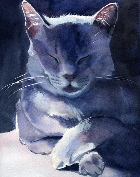 Smoke Grey, Rachel Parker, cat paintings