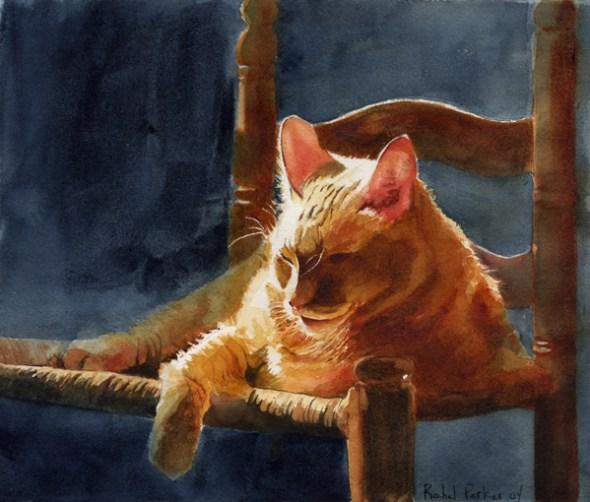 Hum's Slice of Sun, cats in art, cat paintings