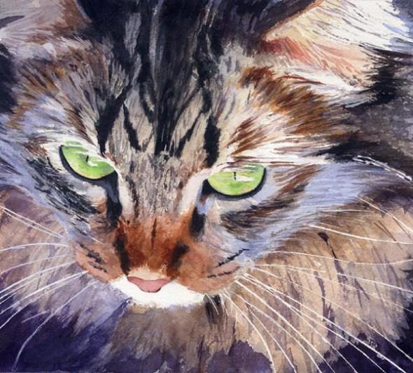 Pepper, cats in watercolor, cats in art