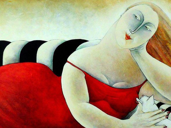 Sunday Afternoon Carla Raadsveld, cat paintings