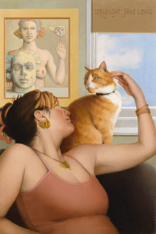 Jane Lewis, The Caress, cat paintings