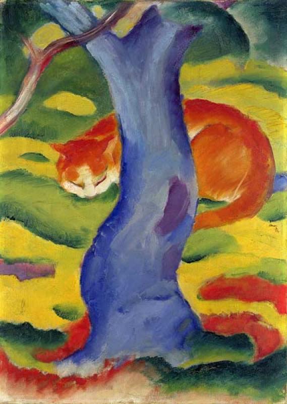 Cat Behind a Tree, Franz Marc cats