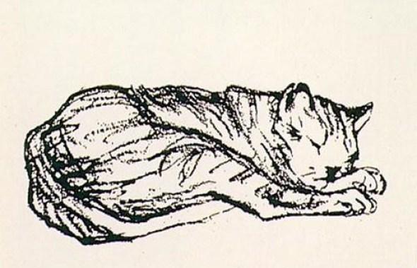 Franz Marc Cat Lying Down Sketch