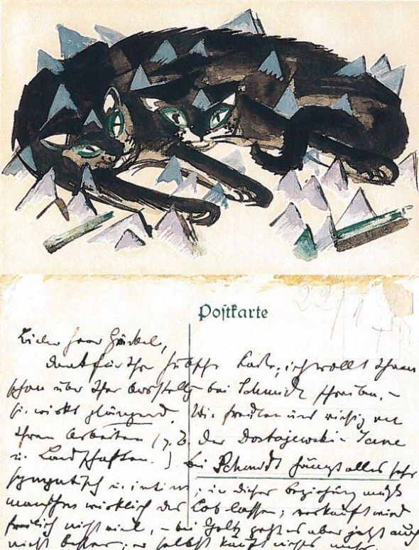 Postcards dating from 1913-1914 to friends and artists Erich Heckel, Else Lasker-Schüler, Wassily Kandinsky, and Paul Klee