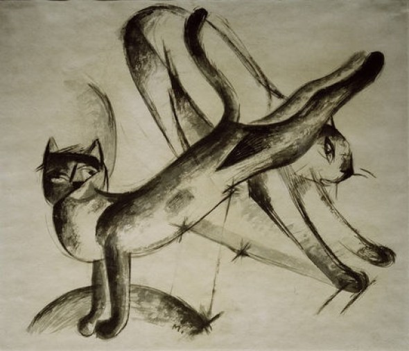 Franz Marc Two Cats Drawing, cat art, art cats