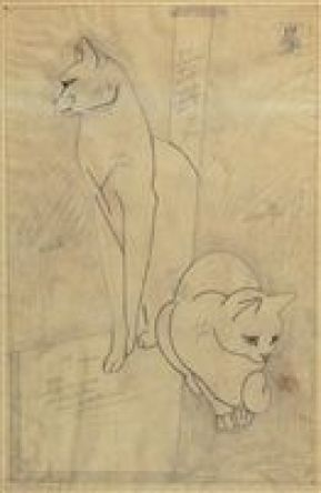 Study of Two Cats, cats in art, art cats