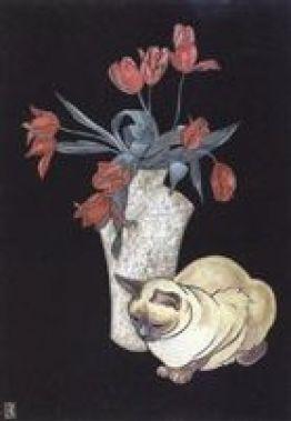 Chat siamois au vase de tulipes