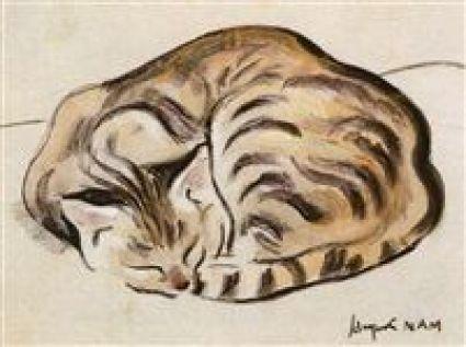 Chat tigré couché Tiger Cat Sleeping, cat art, cats in art