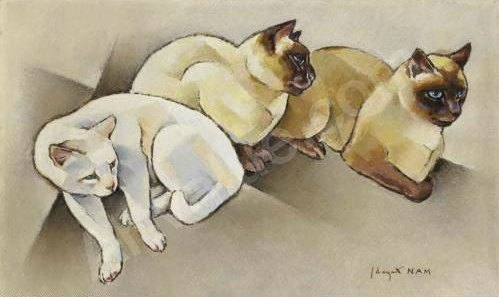 Un chat blanc et deux siamois One White Cat and Two Siamese, art cats, siamese cats in art