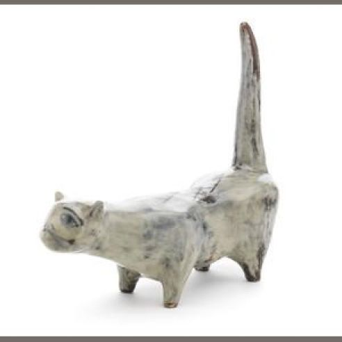Hockney Earthenware Cat 1955, cats in art, cat statues