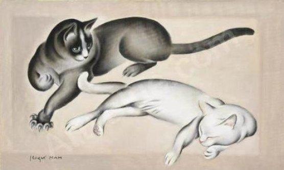 Deux chats allonges, JL Nam