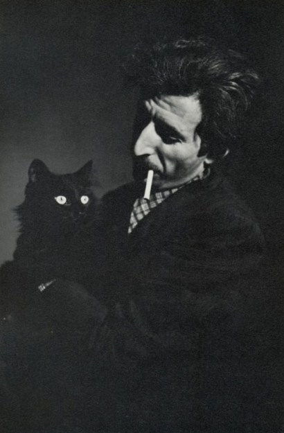 Carl Mydans Gjon Mili and his cat Blackie, 1944 From Gjon Mili Photographs and Recollections, cats in photographs, famous cats