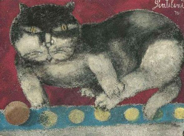 Gentilini untitled cat 1976, cats in art, art cats, famous cats, artists' cats