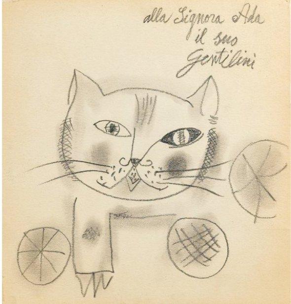 Franco Gentilini Cat drawing, cats in art, art cats, painted cats
