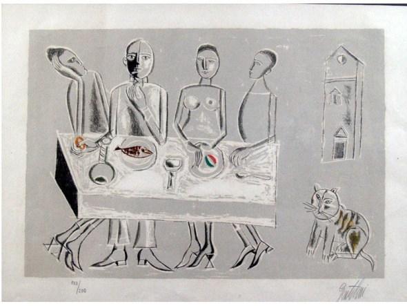 Franco Gentilini cat near a table, cats begging, cats in art