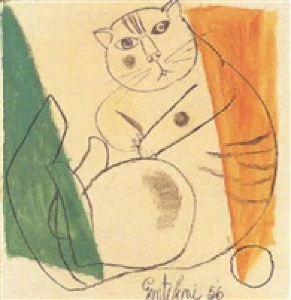 F. Gentilini, gatto, cats, art cats, paintings of cats