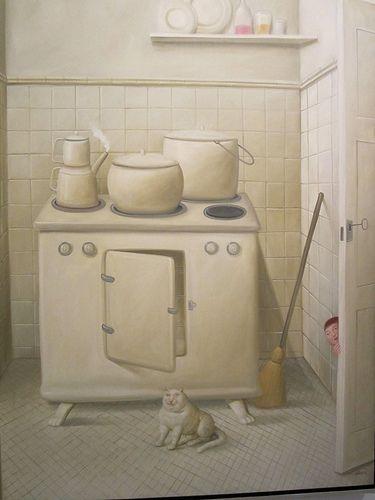 f. Botero the kitchen, cat art