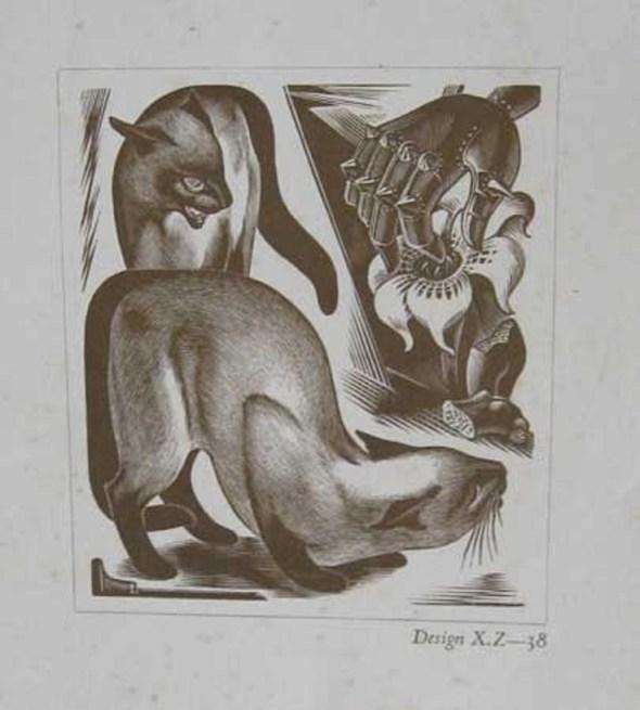 Agnes M Parker, cats in art, wood block prints