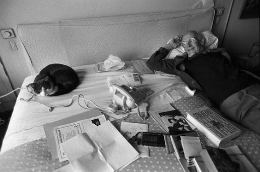 Henri Cartier Bresson with Cat, cats in black and white