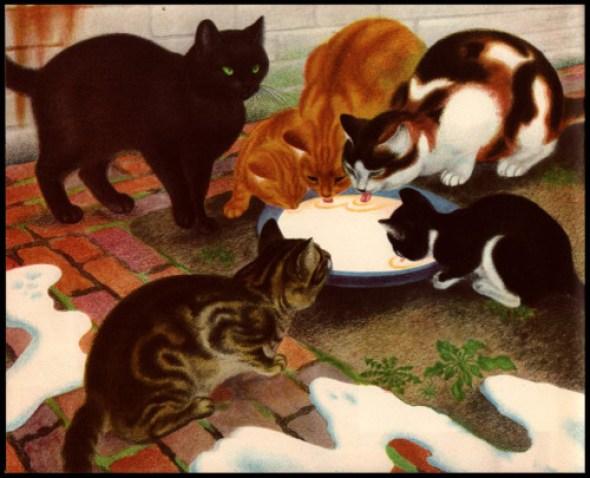 Cats Drinking Milk, Eileen Rosemary Mayo