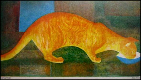 Orange Cat Eileen Rosemary Mayo, cat illustrations, cats in art