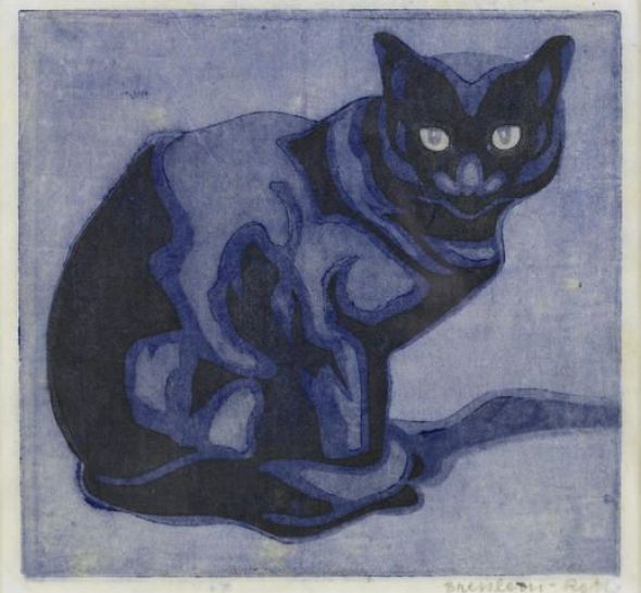 Norbertine von Bresslern-Roth (Austrian, 1891-1978) Cat Woodcut, c. 1925, cats in art