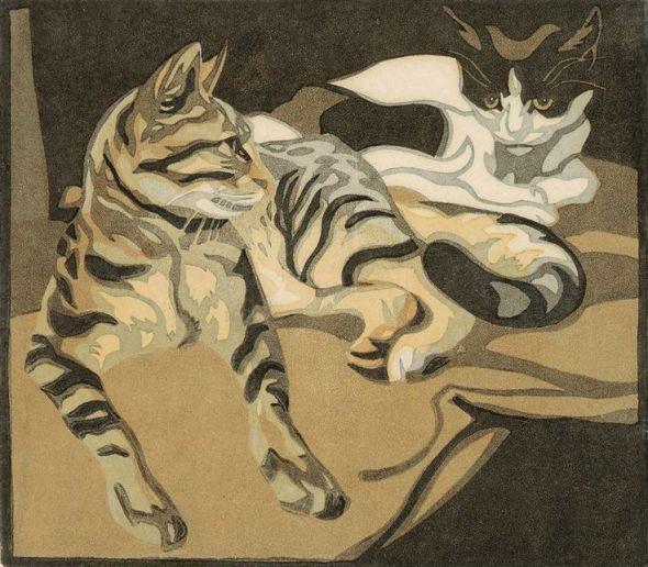 Norbertine von Bresslern-Roth (Austrian, 1891-1978 ) - Two Cats, 1920's - Linocut