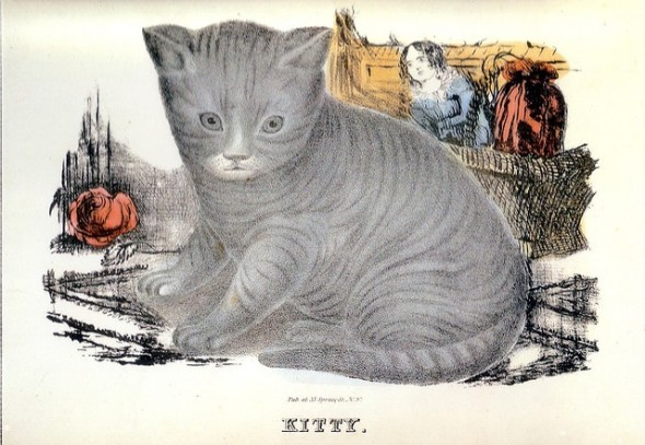 Currier and Ives, Kitty, grey cat, cats in art