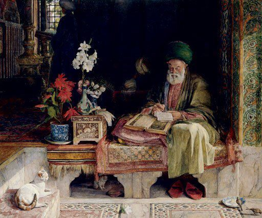 The Commentator on the Koran , orientalist paintings, cats in art, art cats