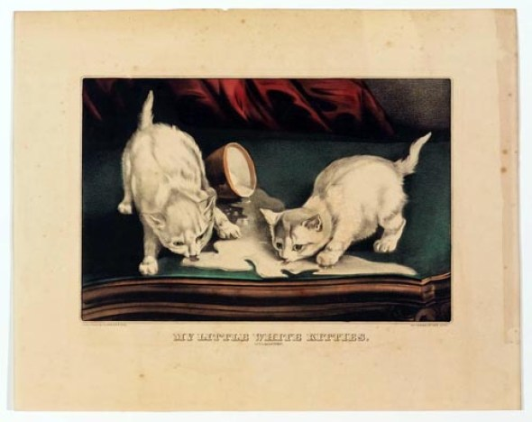 Little white kitties into mischief, currier & Ives, cats