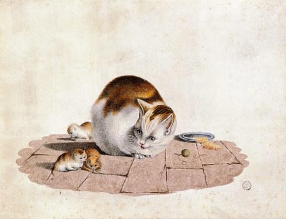 Katzenmutter-mit-drei-Jungen-an-einem-Futterteller g. mind