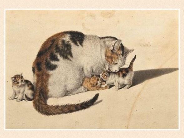 Mind, Katzen Mutter mit drei Jungen, cats in art