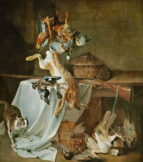 Still life with cat and game cat art, cat paintings, jean baptiste oudry