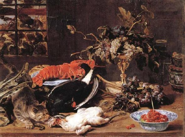 Snyders Hungry Cat with Still Life 1615-1620 Staatliche Museum Berlin