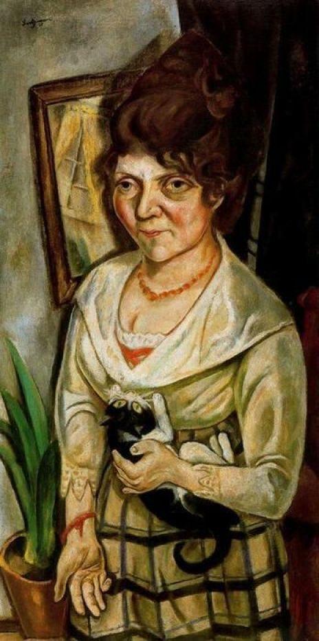 Friedel Battenberg, 1920 with cat, M. Beckmann