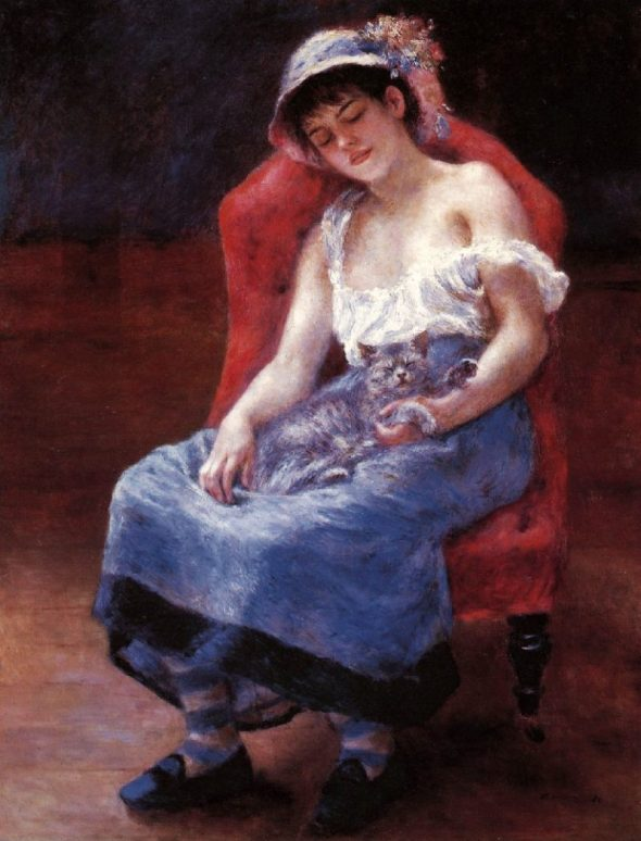 Renoir, Girl Sleeping with a Cat 1880