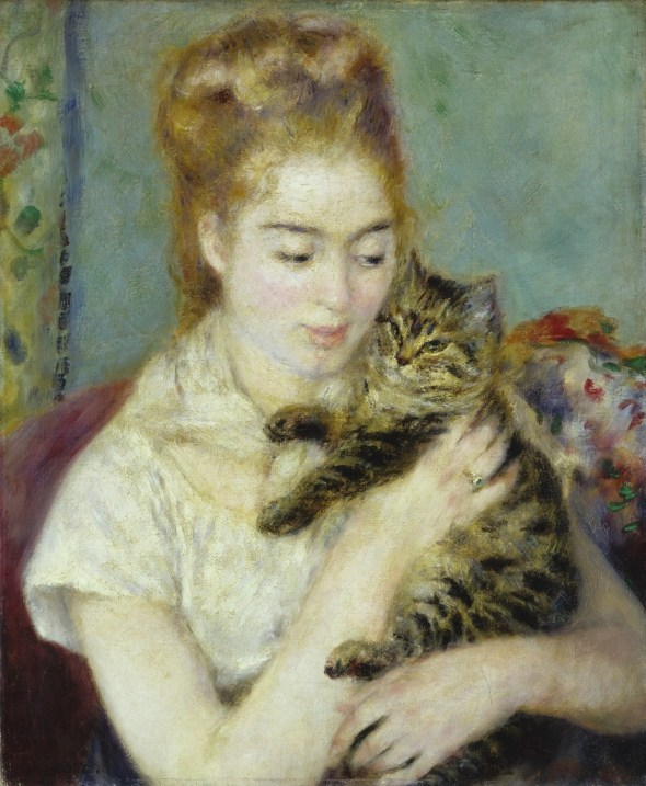 Renoir Woman with a Cat 1875
