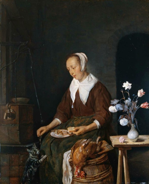 Gabriel Metsu Woman Feeding her Cat 1662-65