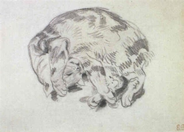 Small Cat Playing Petit chat jouant E. Delacroix