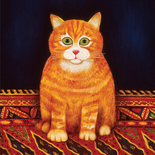 Cat on a Mat, Martin Leman, cat paintings