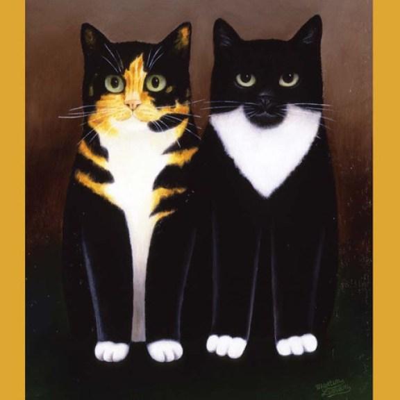 Penny Black and Tiffany - tortoise shell cats, cat art, Martin Leman