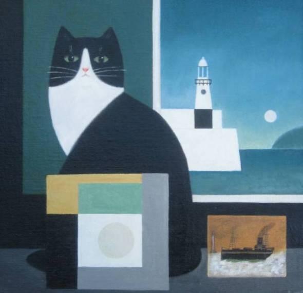 Sea Cat, M. Leman, cat art, cat paintings