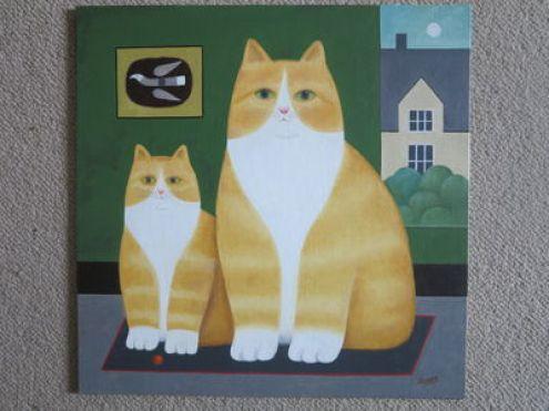 Two Cats, Martin Leman, cat art, cat paintings