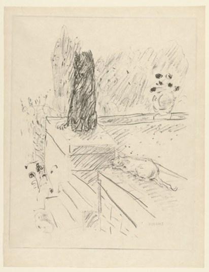 Sketch - Cat and Dog, Pierre Bonnard, cat art