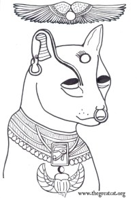 Face of Bastet with Wings Above, coloring book, adult coloring book, Ancient Egyptian Cats A Coloring Book
